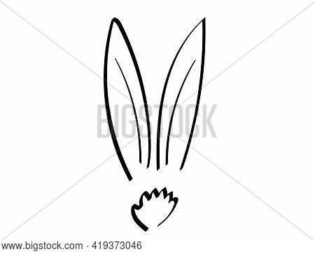 Cute Bunny Vector Illustration Doodle Drawing, . Outline Rabbit Ears And Tail Graphic Icon. Handdraw