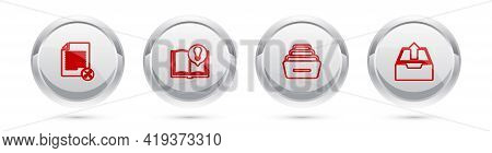 Set Line File Document Service, Interesting Facts, Drawer With Documents And Upload Inbox. Silver Ci