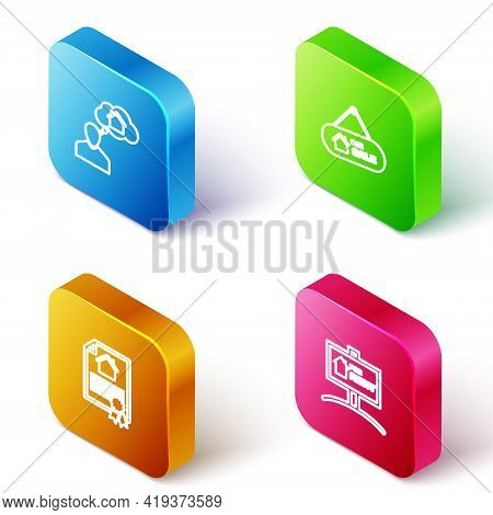 Set Isometric Line Man Dreaming About Buying House, Hanging Sign With For Sale, House Contract And R