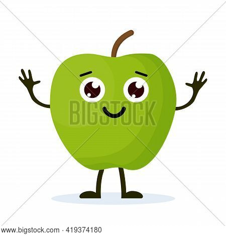 Apple Character, Cute Character For Your Design. Beautiful Cartoon Apple Isolated On White Backgroun