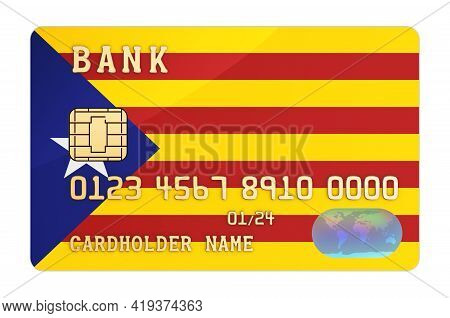 Bank Credit Card Featuring Catalan Flag. National Banking System In Catalonia Concept. 3d Rendering