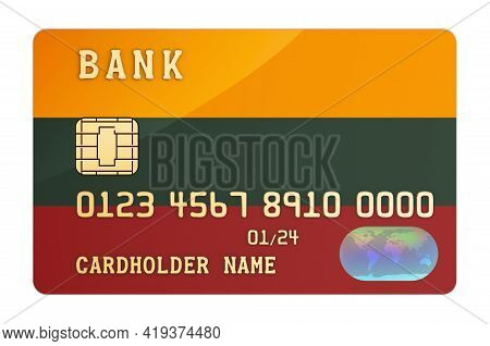 Bank Credit Card Featuring Lithuanian Flag. National Banking System In Lithuania Concept. 3d Renderi
