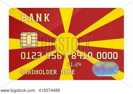Bank Credit Card Featuring Macedonian Flag. National Banking System In Macedonia Concept. 3d Renderi