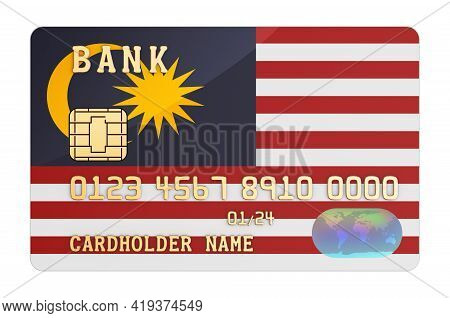 Bank Credit Card Featuring Malaysian Flag. National Banking System In Malaysia Concept. 3d Rendering
