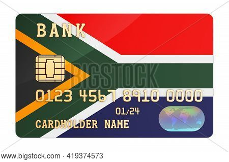 Bank Credit Card Featuring South African Flag. National Banking System In South Africa Concept. 3d R