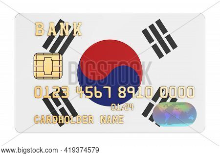 Bank Credit Card Featuring South Korean Flag. National Banking System In South Korea Concept. 3d Ren