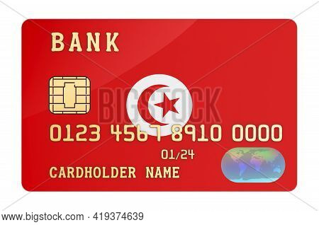 Bank Credit Card Featuring Tunisian Flag. National Banking System In Tunisia Concept. 3d Rendering I