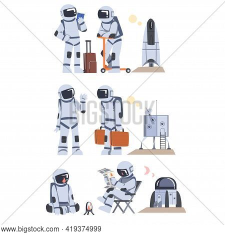 Space Tourists With Suitcases Traveling In Space Set, Astronauts Wearing Spacesuits Landed On Mars O