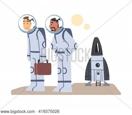 Astronauts In Spacesuits Landed On Another Planet, Space Tourism Concept Cartoon Vector Illustration