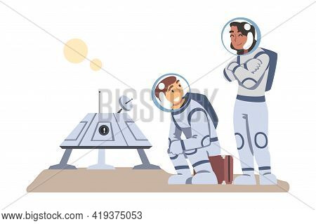 Astronauts Wearing Spacesuits Landed On Mars Or Moon, Space Tourism Concept Cartoon Vector Illustrat