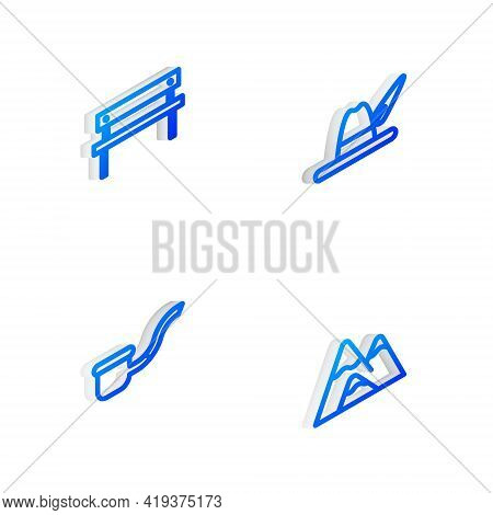 Set Isometric Line Oktoberfest Hat, Bench, Smoking Pipe And Mountains Icon. Vector