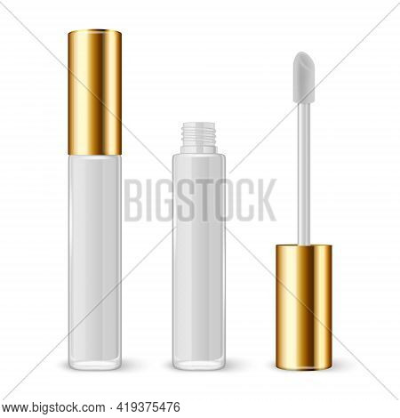 Vector 3d Realistic Closed, Opened White Lip Gloss, Lipstick Package, Golden Cap Set Isolated. Glass