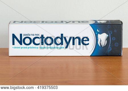 Pruszcz Gdanski, Poland - April 30, 2021: Noctodyne Toothpaste On Wooden Table.