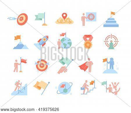 Mission, Purpose, Objective, Aim Colorful Icons. Business Concepts. Businessman With Flag, Achieveme