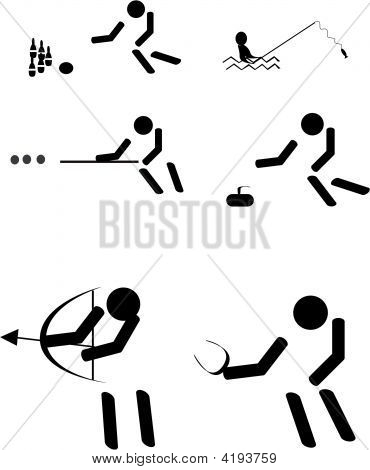 grouping of fun sports pictogram's in a group of six poster