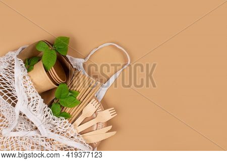 Eco-friendly Tableware - Kraft Paper Food Cups And Containers With Wooden Cutlery In Cotton Net Bag