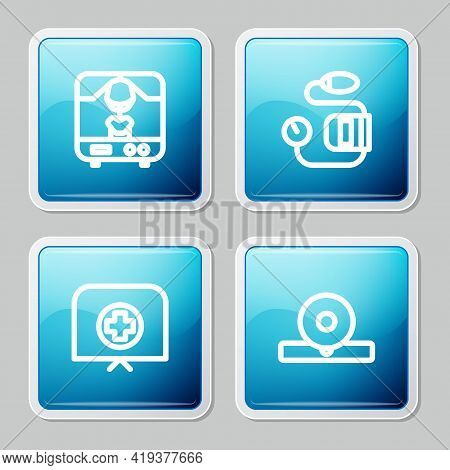 Set Line X-ray Machine, Blood Pressure, Nurse Hat With Cross And Otolaryngological Head Reflector Ic
