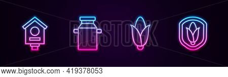 Set Line Bird House, Can Container For Milk, Corn And Shield Corn. Glowing Neon Icon. Vector