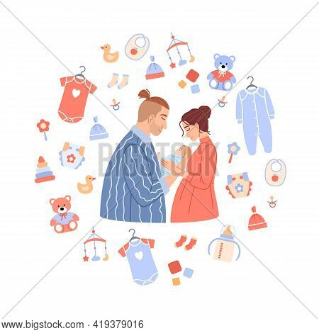 Happy Family Portrait On Baby Background. Flat Couple Holding Newborn Boy Or Girl In Cartoon Circle