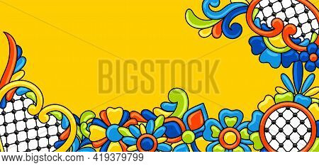 Background With Mexican Talavera Pattern. Decoration With Ornamental Flowers. Background With Mexica
