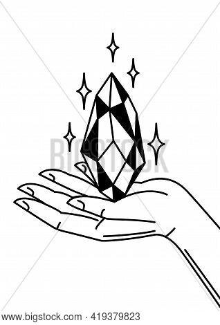 Hand Holds Magic Crystal. Mystic, Alchemy, Spirituality, Tattoo Art.