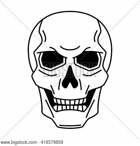 Evil Human Skull. Mystic, Alchemy, Spirituality, Tattoo Art.