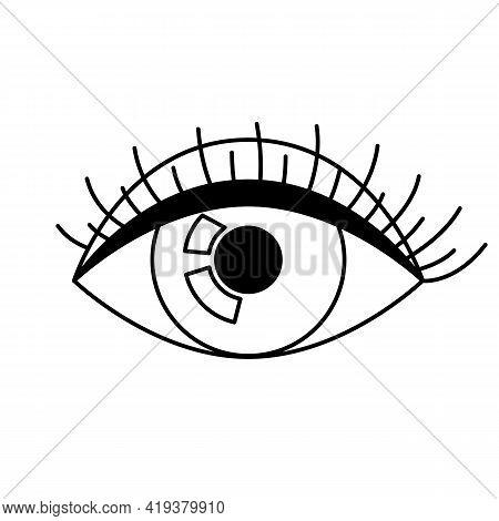 All Seeing Eye Symbol. Decorative Tattoo Art. Isolated Vector Illustration.