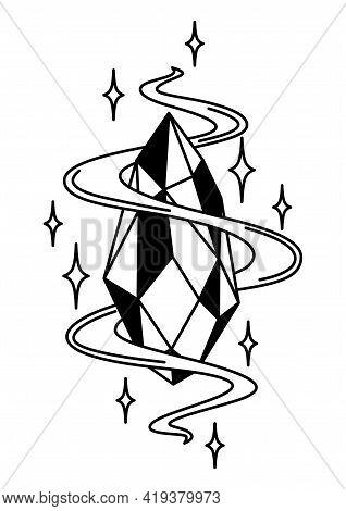 Magic Crystal Or Amulet. Mystic, Alchemy, Spirituality, Tattoo Art.