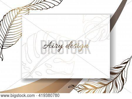 Plants Line Gold. Invitation Card Template. Garden Leaves. Detailed Outline Drawing. Rectangular Fra