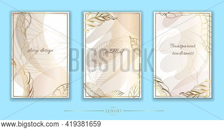 Gold Frame. Set Of Gilded Leaves And Twigs And Spots. Contemporary Dotted Design. Vector Illustratio
