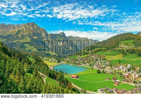 Valley Of Engelberg With Eugenisee Lake. View From Cable Car To Titlis Mountain Of The Uri Alps. Loc