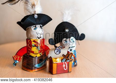 Funny Easter Eggs. Two Pirates On The Table. Happy Easter Background. Festive Easter Compositions. C
