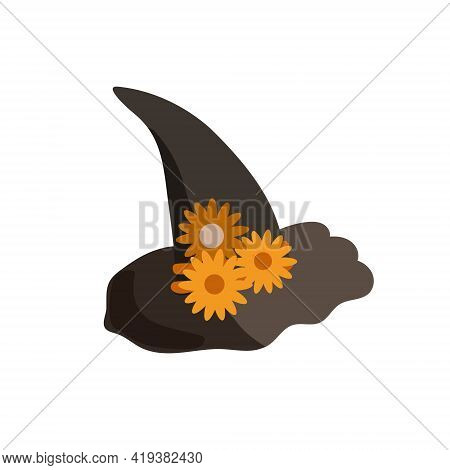 Witch Hat With Orange Flowers Festive Clothes, Cute Fancy Magic Accessory Vector Simple Illustration