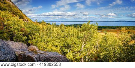 scenic view of Acadia National Park coasline from the Precipice Trail