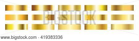 Gold Gradient Set. Golden Foil Brass Material. Copper Paper Sheet Plate. Shine Yellow Border. Luxury