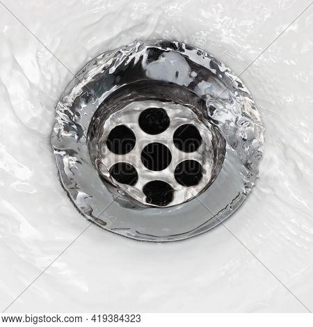 Sink Plug Drain Hole Bath Plughole, White Basin Spout, Running Water Macro Closeup, Stainless Steel,