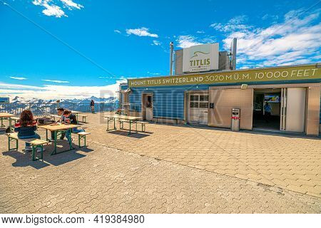 Titlis, Engelberg, Switzerland - Aug 27, 2020: Rooftop Restaurant On The Top Of Titlis Peak Cable Ca