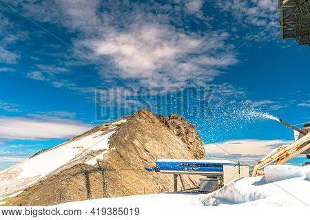 Titlis, Engelberg, Switzerland - Aug 27, 2020: Station Of The Ice-flyer Chair Lift Of Titlis Mountai