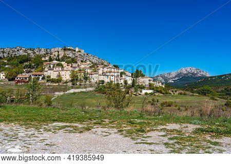 The Village Trigance In Verdon Gorge, Gorges Du Verdon, Amazing Landscape Of The Famous Canyon With