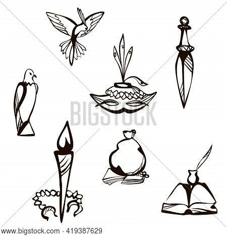 Fairy Tale Ink Set - Book With Feather, Eagle And Parrot, Dagger, Torch With Handcuffs, Bag Of Coins