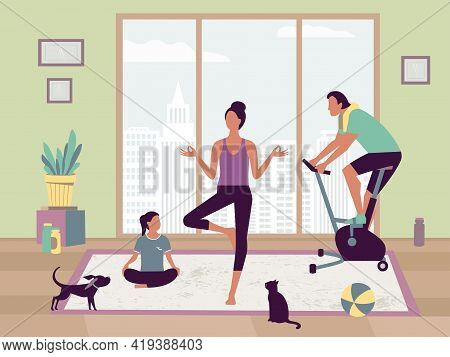 Happy Family Sport Activity. Mother, Father, Kid Doing Morning Exercising At Home. Dad, Mom, Little