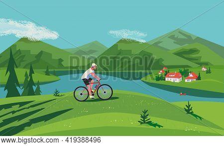 Green Mountain Valley Landscape Flat Color Vector. Man Enjoy Riding Bicycle Cartoon Illustration. Su