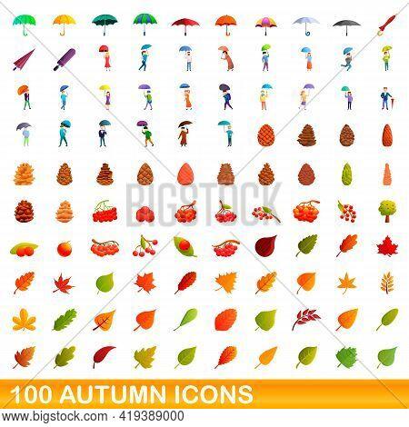 100 Autumn Icons Set. Cartoon Illustration Of 100 Autumn Icons Vector Set Isolated On White Backgrou