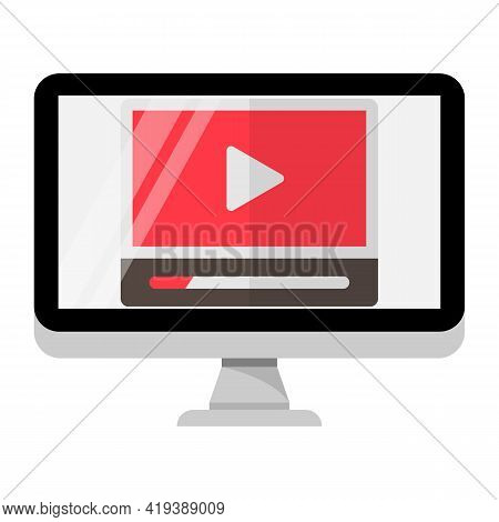 Video Editing Or Broadcasting Concept Icon. Computer Screen With Multimedia Play Button Symbol. Vect