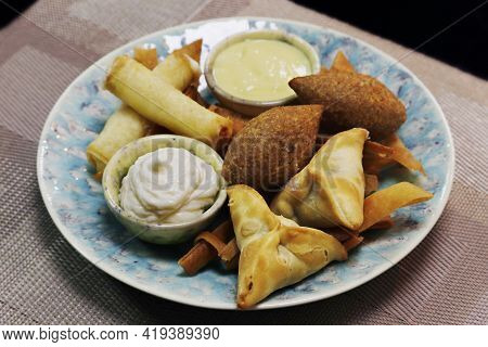 Meddle Eastern Food, Lebanese Arabic Food Speciality Deep Fried Hot Mezze Selection Includes Spinach