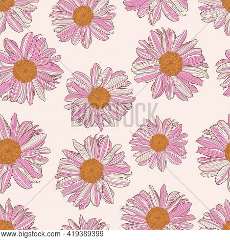 Seamless Pattern Of White And Pink Daisies With A Yellow Center On White Linen Color Background. Dec
