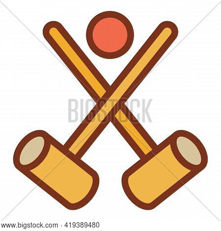 Croquet Crossed Mallet Icon. Outline Croquet Crossed Mallet Vector Icon For Web Design Isolated On W