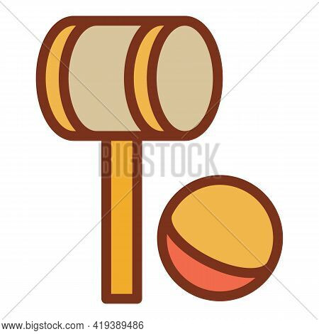 Croquet Mallet Ball Icon. Outline Croquet Mallet Ball Vector Icon For Web Design Isolated On White B