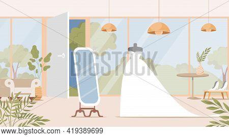 Wedding Shop Interior Design With Bride Dress Vector Flat Illustration. Bridal Boutique With Mannequ