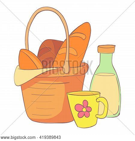 Full Picnic Basket Icon. Cartoon And Flat Of Full Picnic Basket Vector Icon For Web Design Isolated